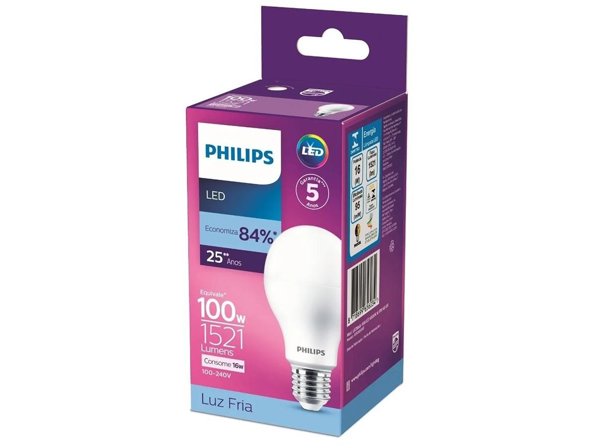 6X Lâmpada Led Bulbo A65 16W 1521lm Bivolt Equivale 100W - Philips