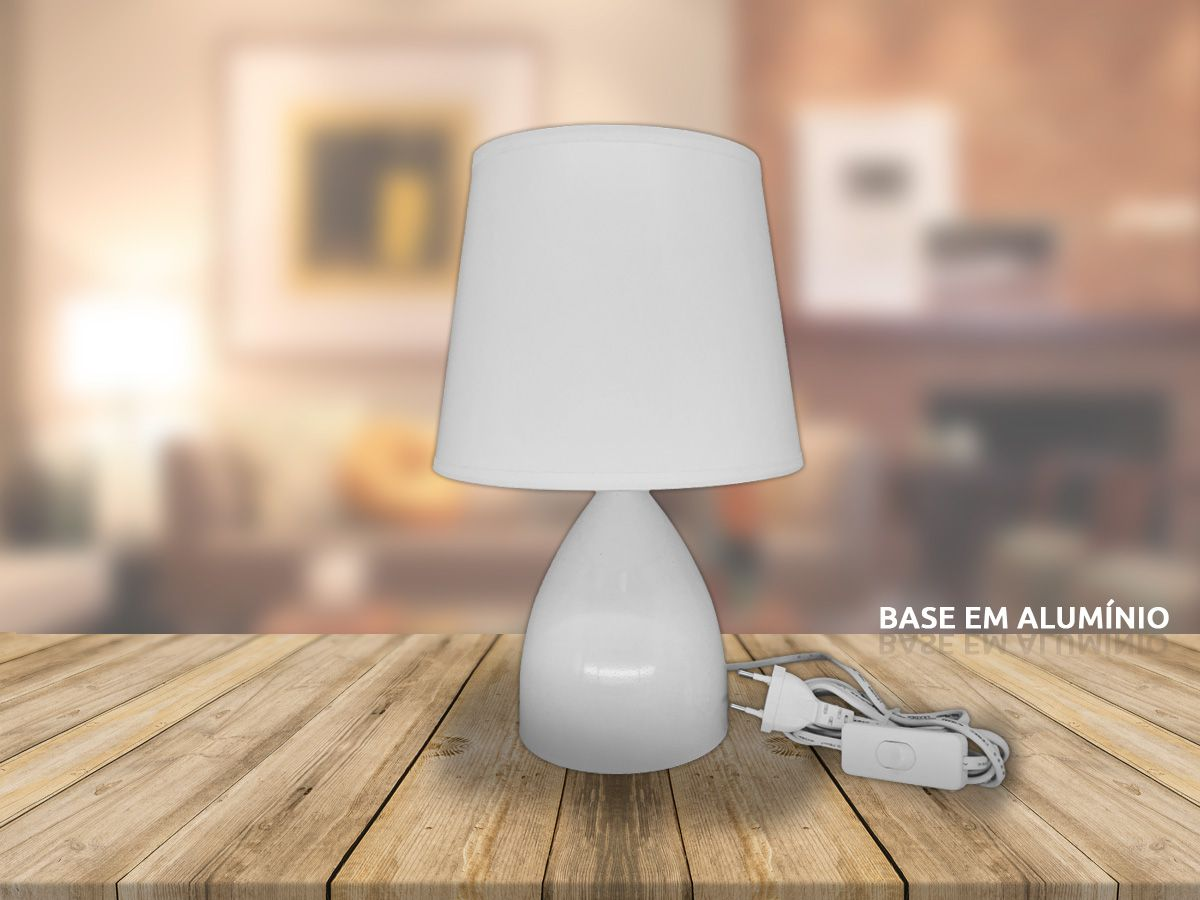 Abajur Luminária de mesa com Cúpula Branco