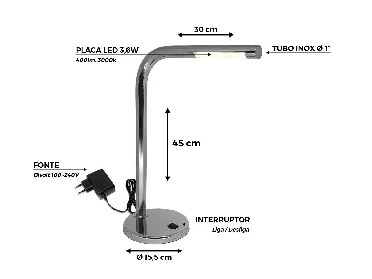 Abajur Luminária de Mesa Inox LED 3,6W 400lm 3000k Bivolt