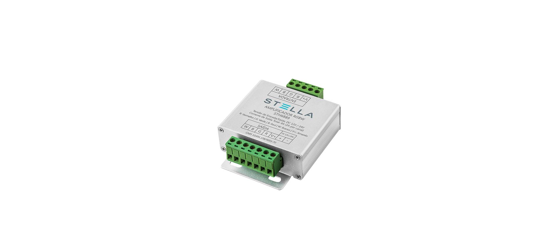 Amplificador RGBW + Emenda RGBW + Conector RGBW - Stella