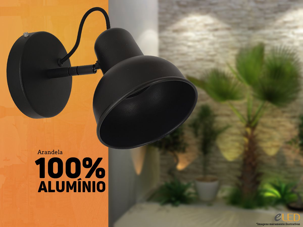 Arandela Spot de Parede 100% Alumínio - Preta