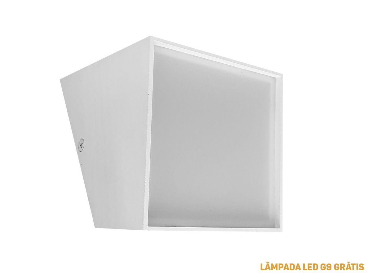 Arandela Parede Branca G9 LED - Lâmpada Brinde