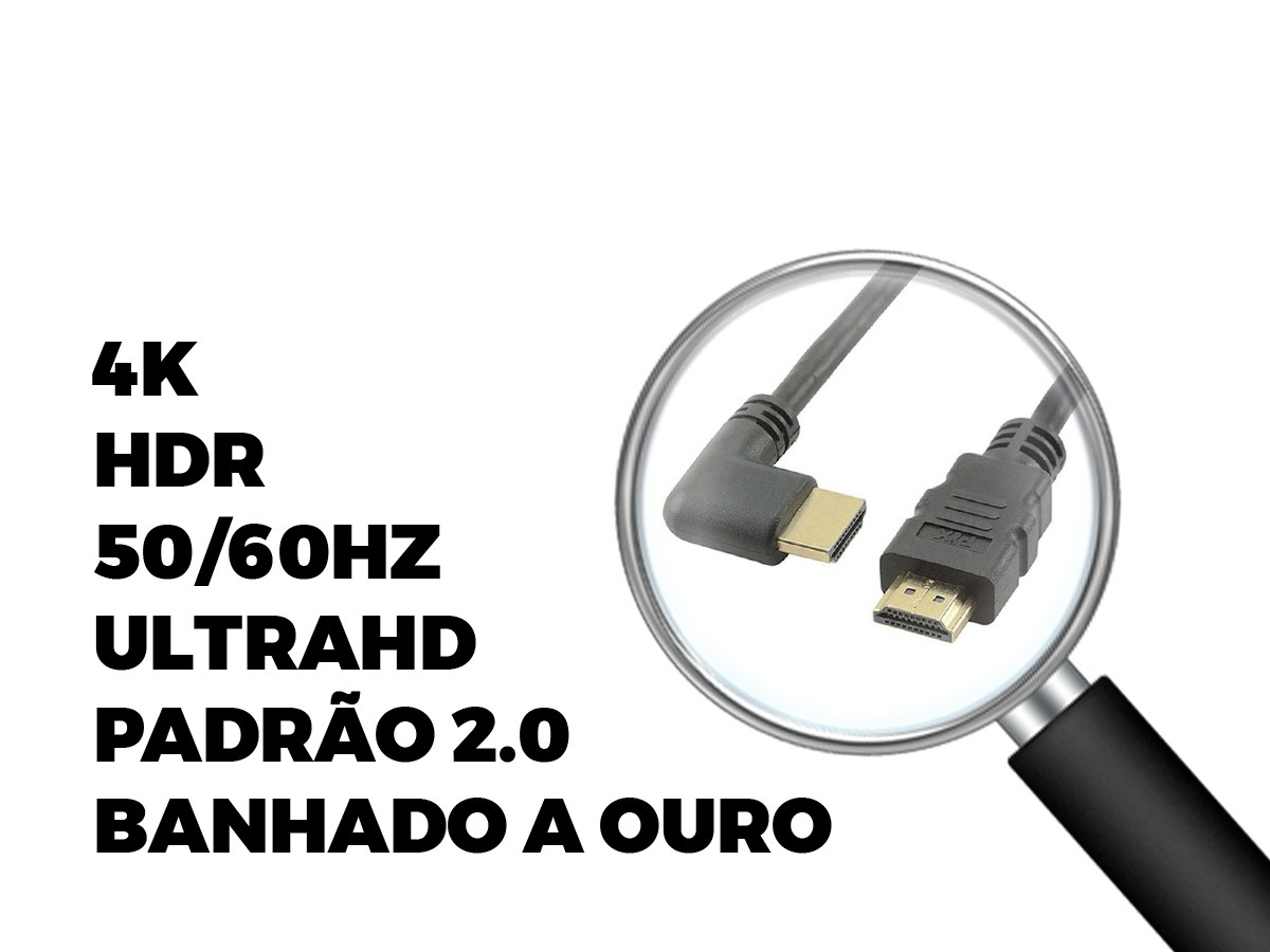 Cabo Hdmi Gold 2.0 90° 4k Hdr 19p 5m-chip Sce 018-3325