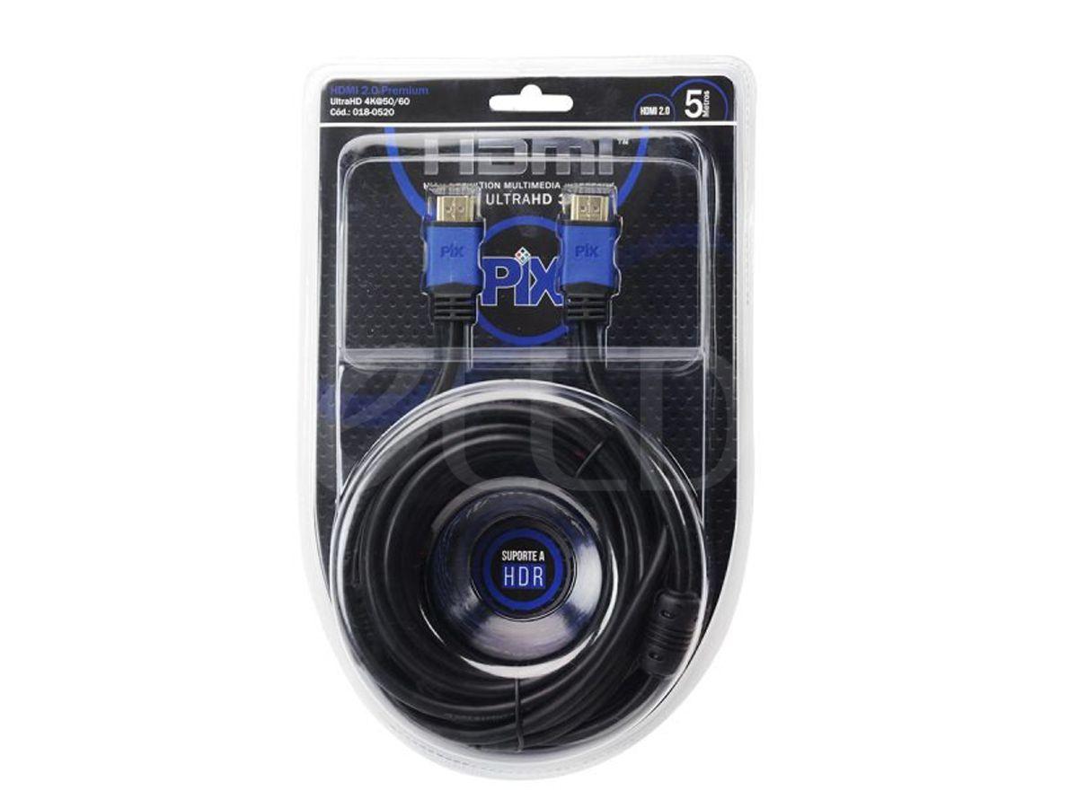 Cabo HDMI Premium 2.0 4K HDR 19P 5 Metros Com Filtro  018-0520