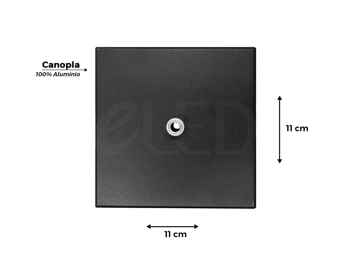 Canopla Quadrada para Pendente em Alumínio 11x11cm