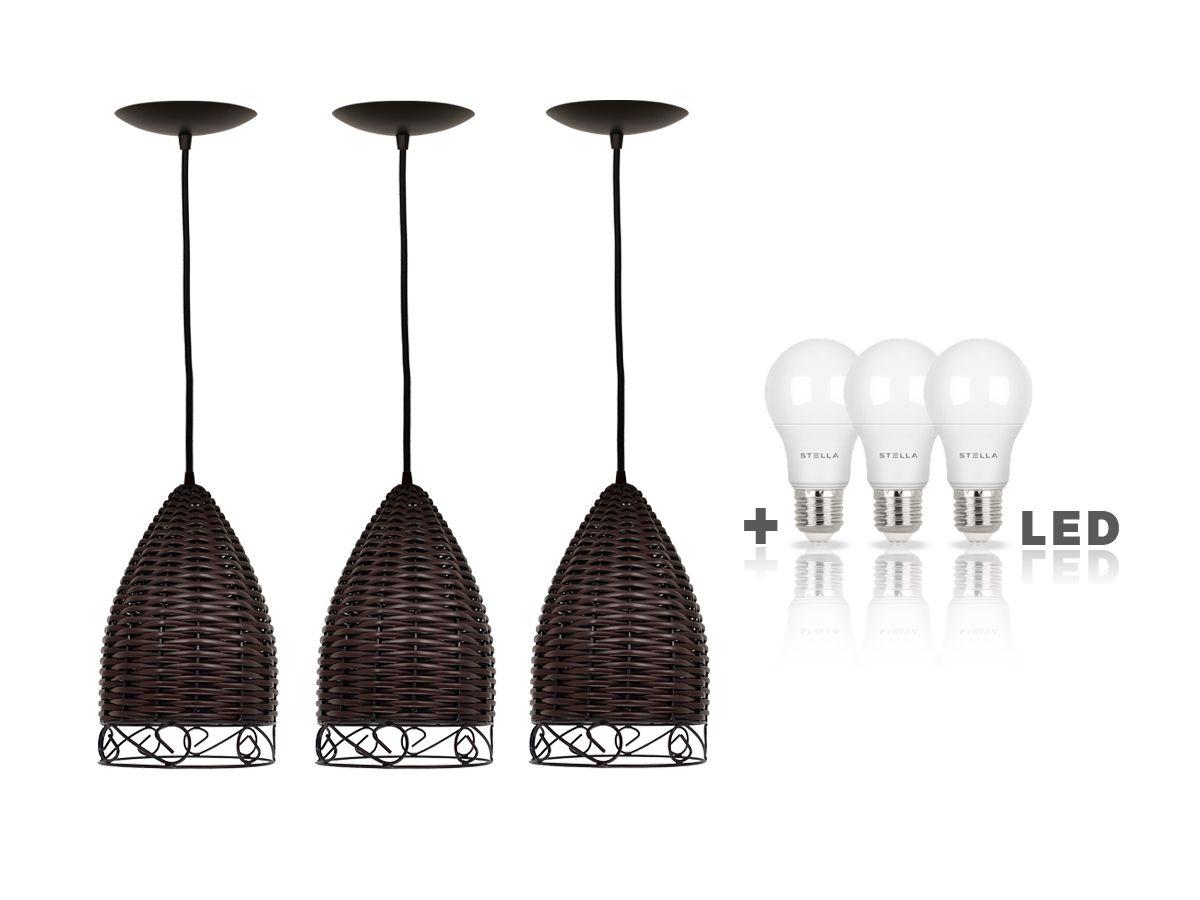 3x Pendente Junco Taça Tabaco Luminária C/Detalhe+ Lampadas