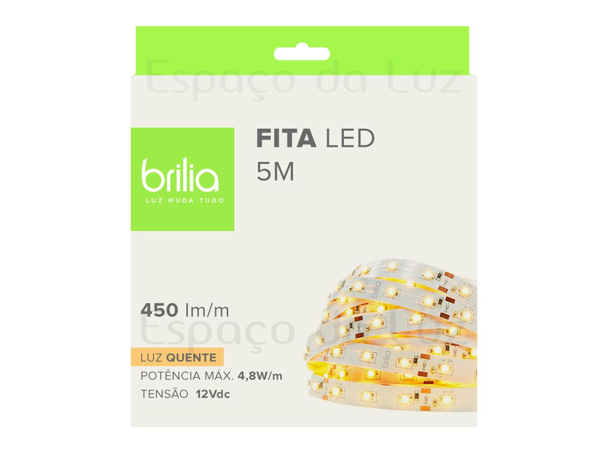 Fita LED 4,8W/m IP20 5M  2700K Luz Quente - BRILIA