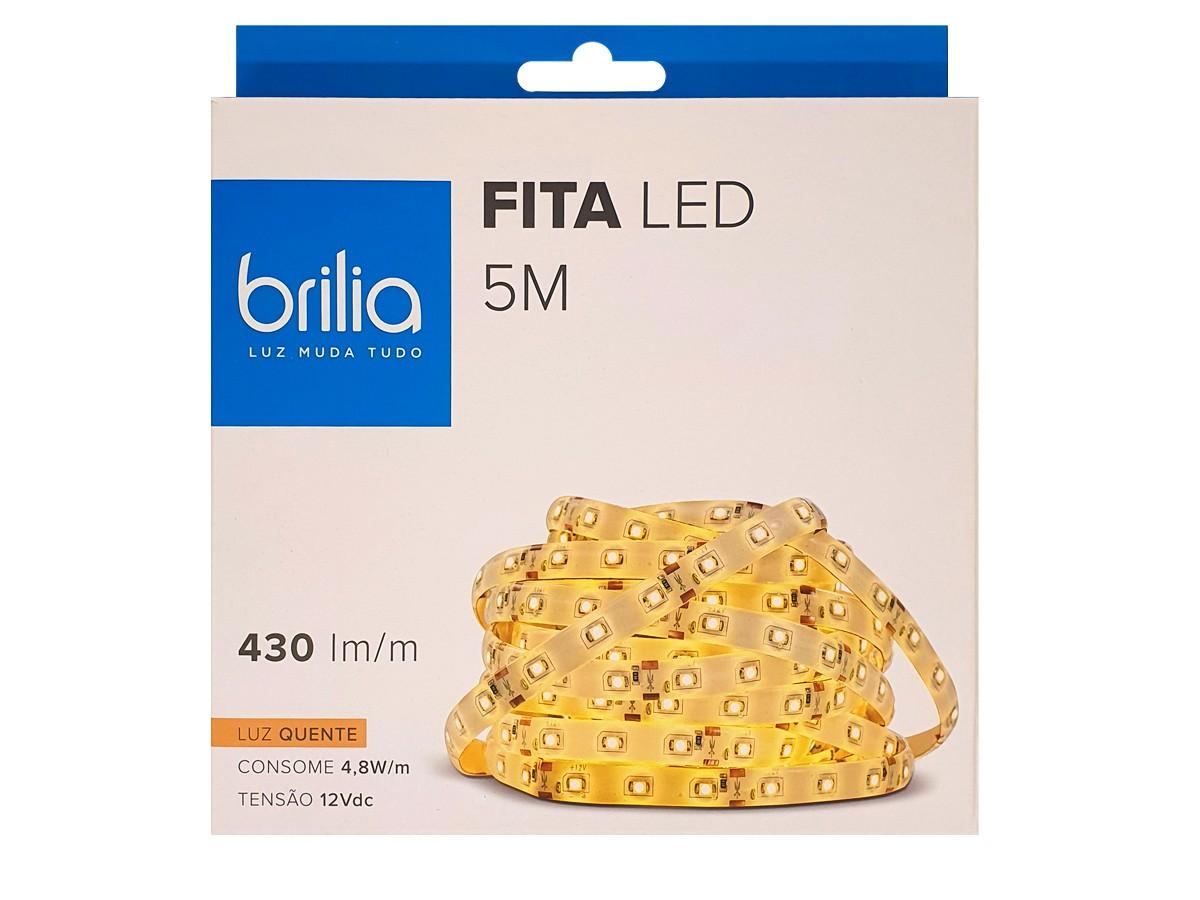 Fita LED 4,8W/m IP65 5M  2700K Luz Quente 430 lm/m - BRILIA