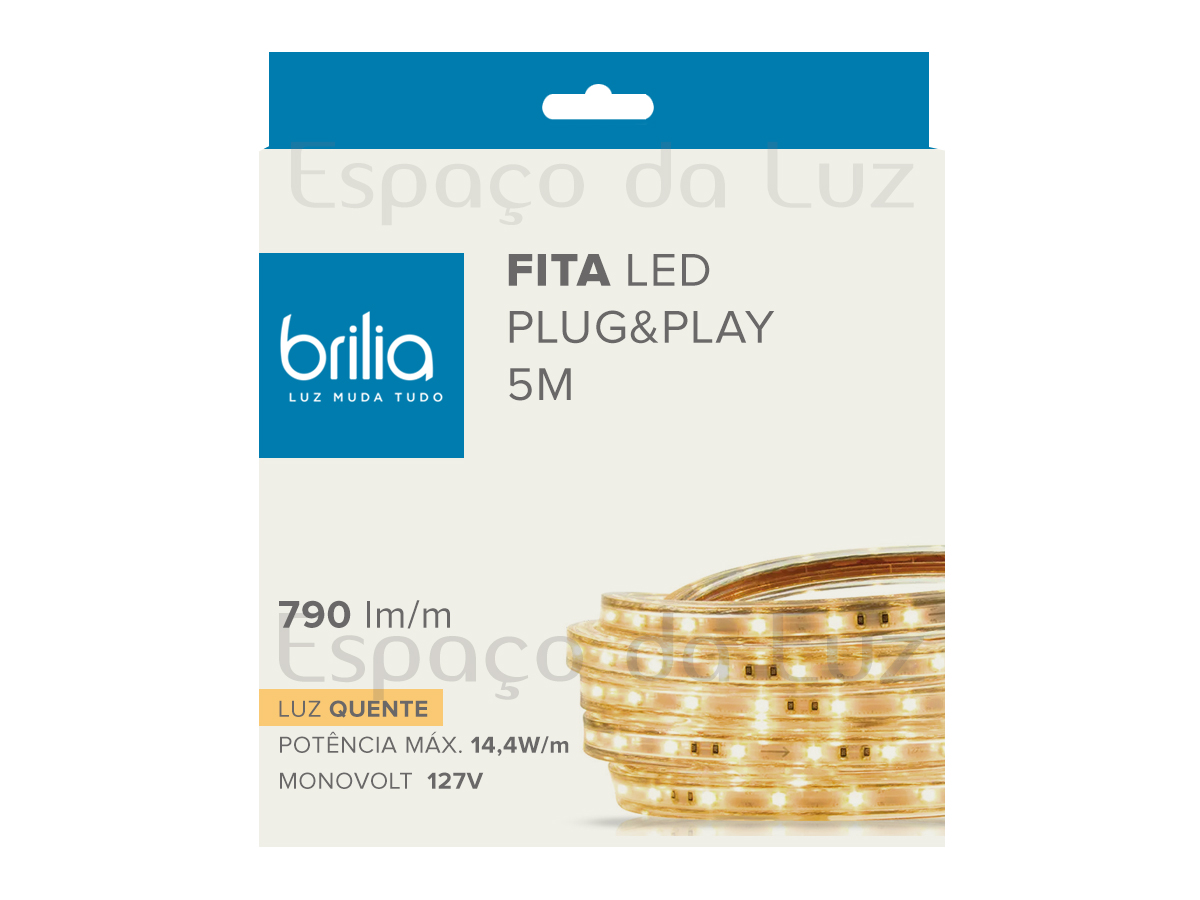Fita Led Plug & Play Dimerizável 14,4W/m IP66 5m 2700K Luz Quente - Brilia