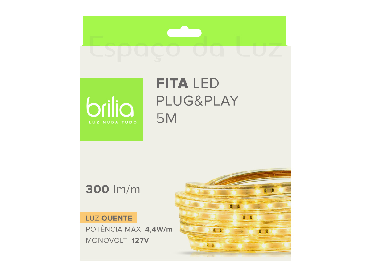 Fita Led Plug & Play Dimerizável 4,4w/M Ip66 127V – 5m  2700K Luz Quente - Brilia