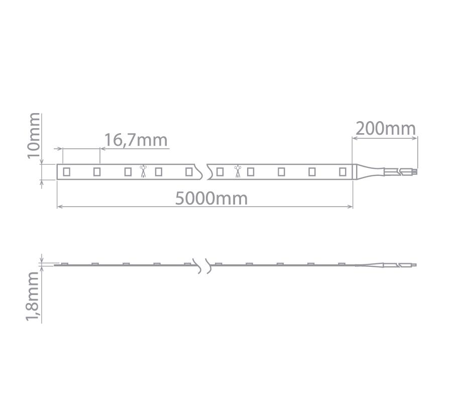 Fita LED Profissional 12W/M IP20 2700K 12V 5m - Stella - STH6810/27