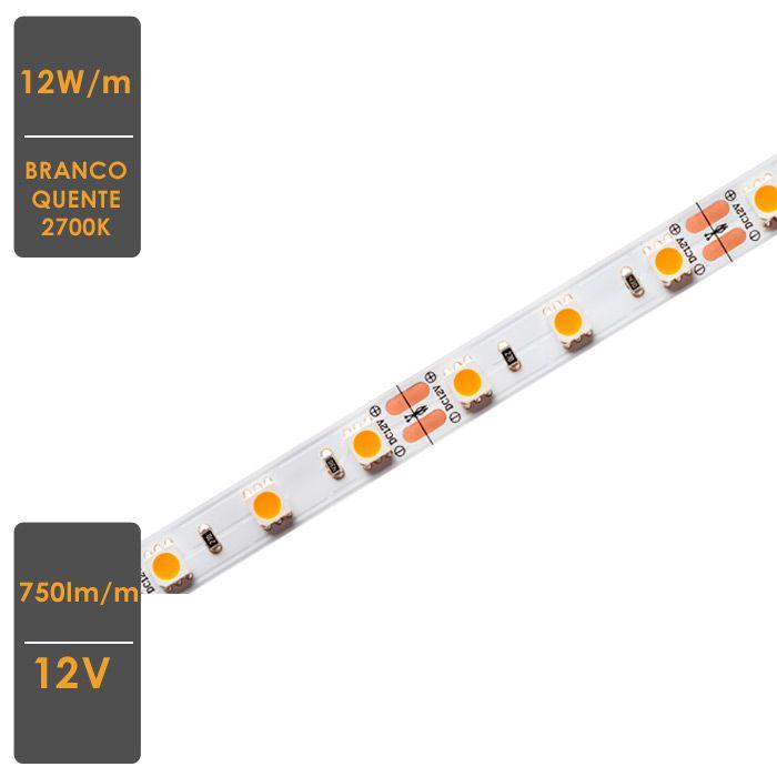 Fita LED Profissional 12W/M IP65 2700K 12V - Rolo 5 Metros