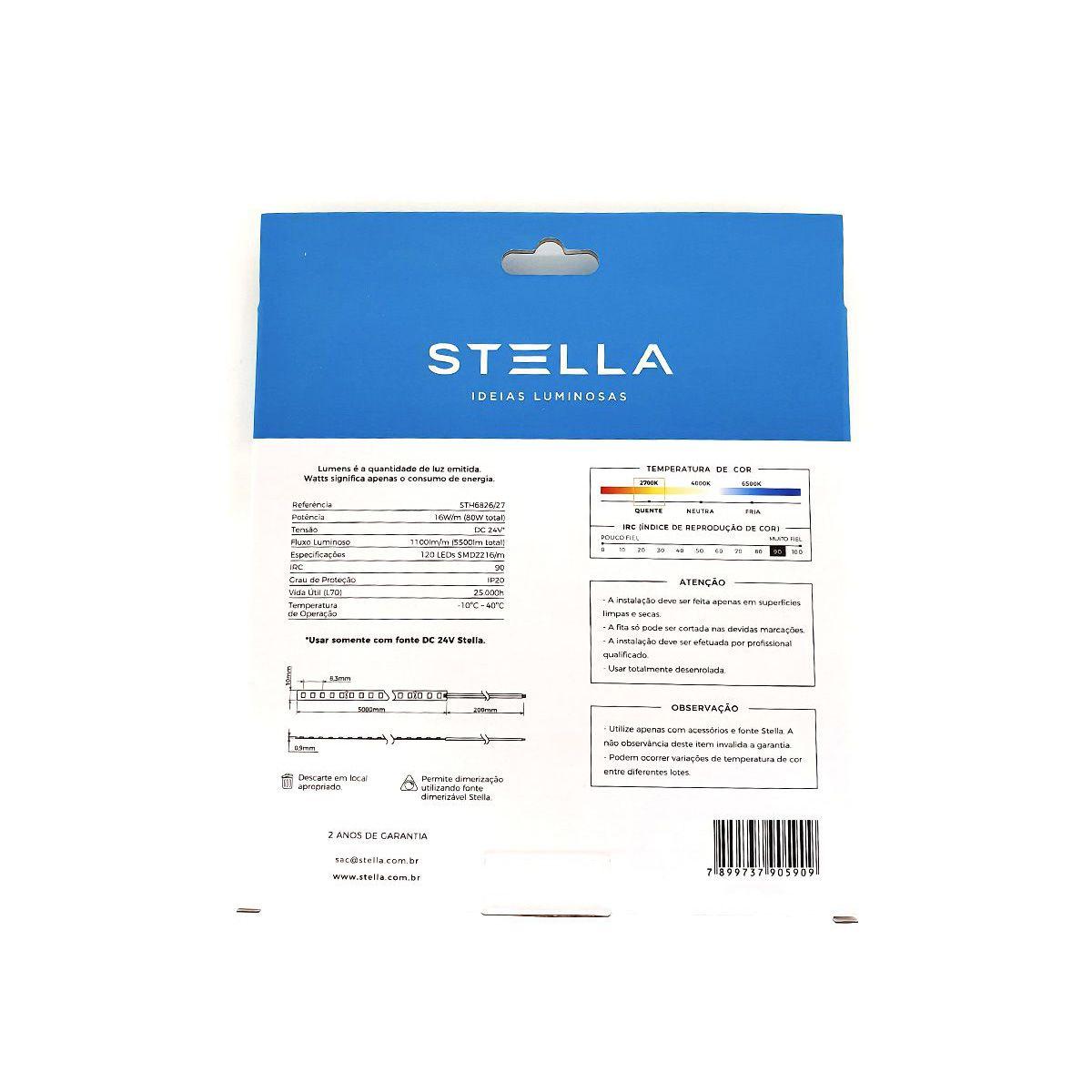 Fita LED Profissional 16W/M 2700K IP20 24V IRC90 1100lm-5m - Stella-STH6826/27