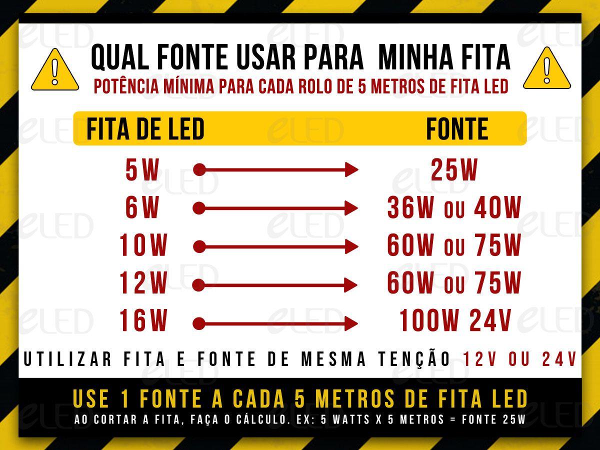 Fita Led Profissional 5W/M BRANCO FRIO 6500K 12V + Fonte Eletronica 12V 3A Bivolt