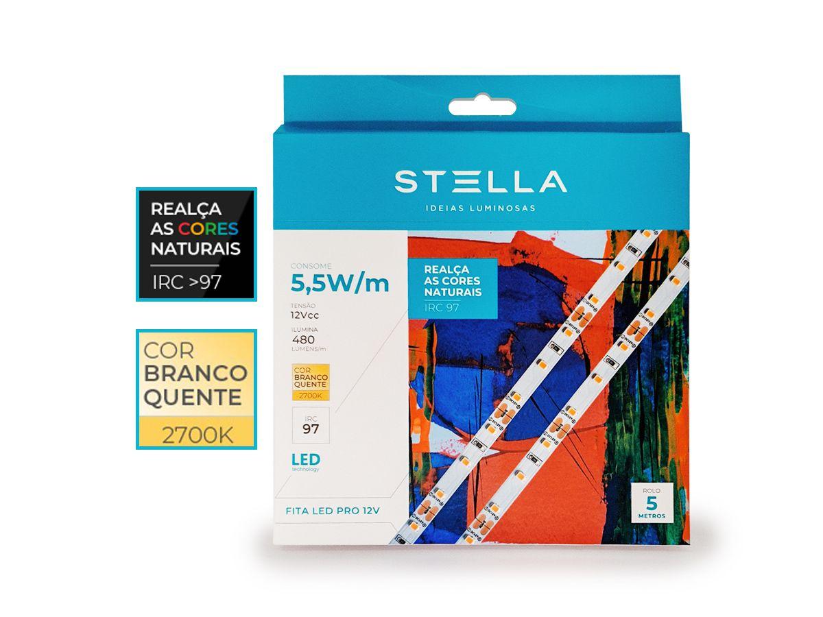 Fita LED Profissional IRC97 5,5W/m  IP20 2700K 12V 5m - Stella - STH20800/27
