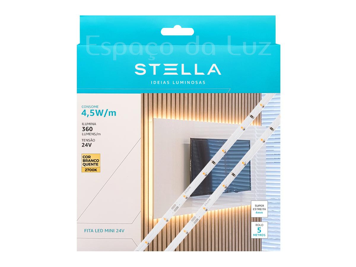 Fita Mini LED Profissional 4,5W/M IP20 2700K 24V - 5m - Stella STH8840/27