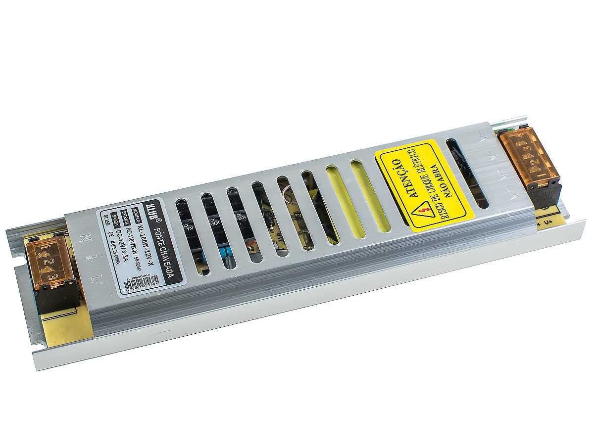 Fonte Profissional Chaveada para LED 12V 100W 8A IP20 KLUB - Bivolt