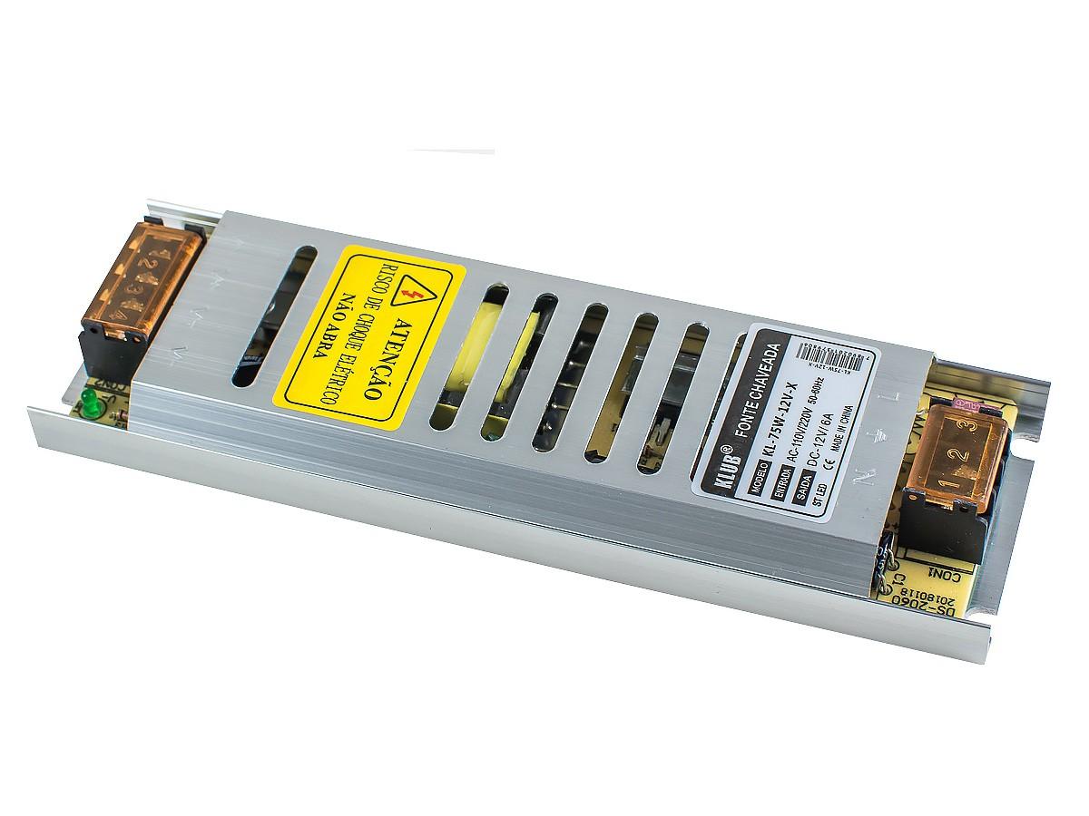 Fonte Profissional Chaveada para LED 12V 75W 6A IP20 KLUB - Bivolt