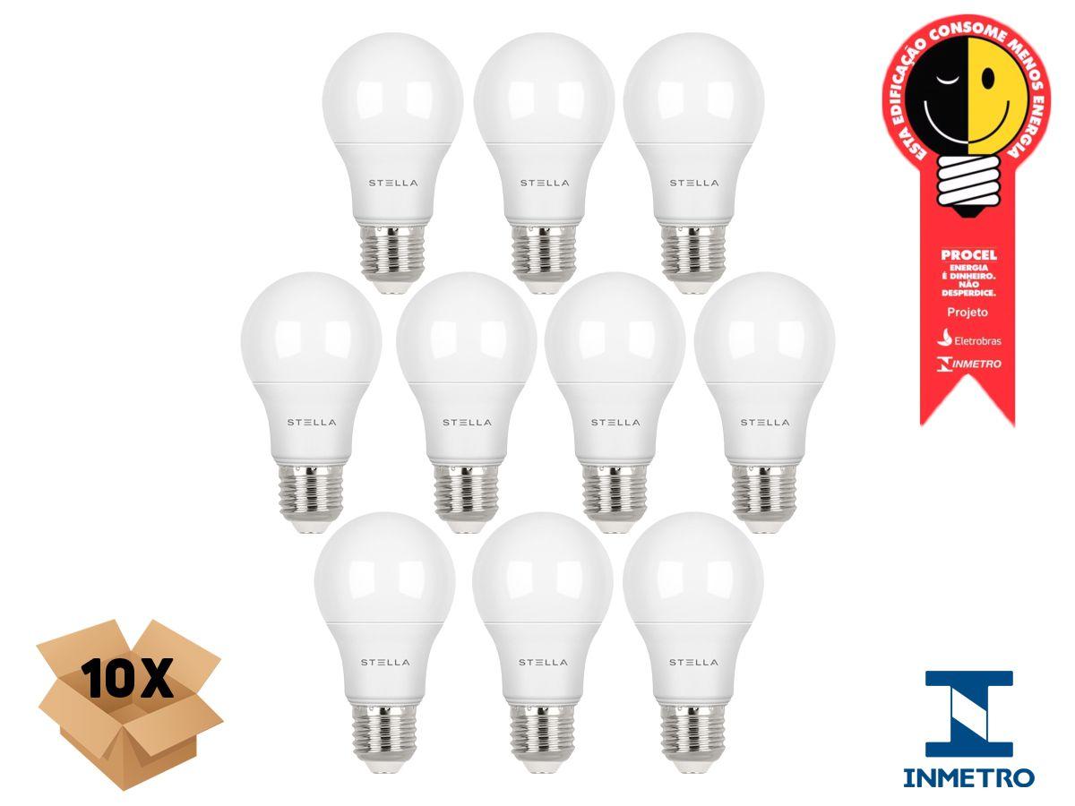 Kit 10 Lampada Led 7w E27 2700k Luz Quente Stella STH8264/27
