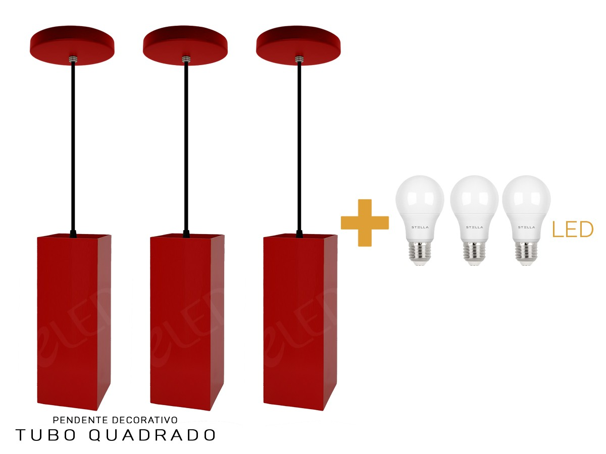 Kit 15 Pendentes Tubo Quadrado  para Bancada Cozinha + Led