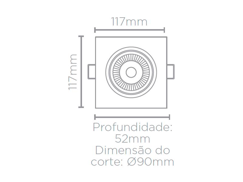 KIT 17x  Embutido Led 7w Par20 Direcionável 3000k 500lm - Stella