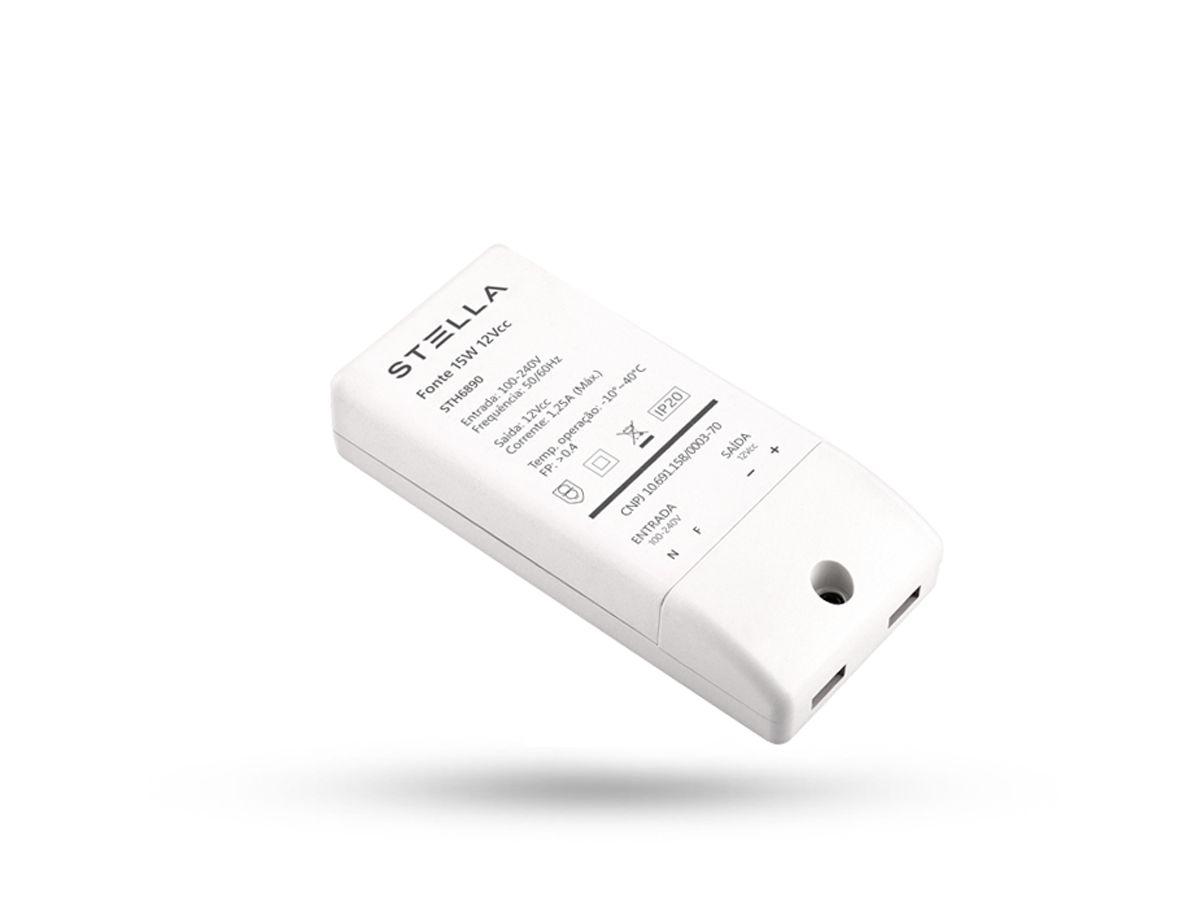 Kit 1x Fita de LED 5W/M 2700K + 1x Fonte 15W 12V + 5x Conector 2 Fios 8mm - Stella