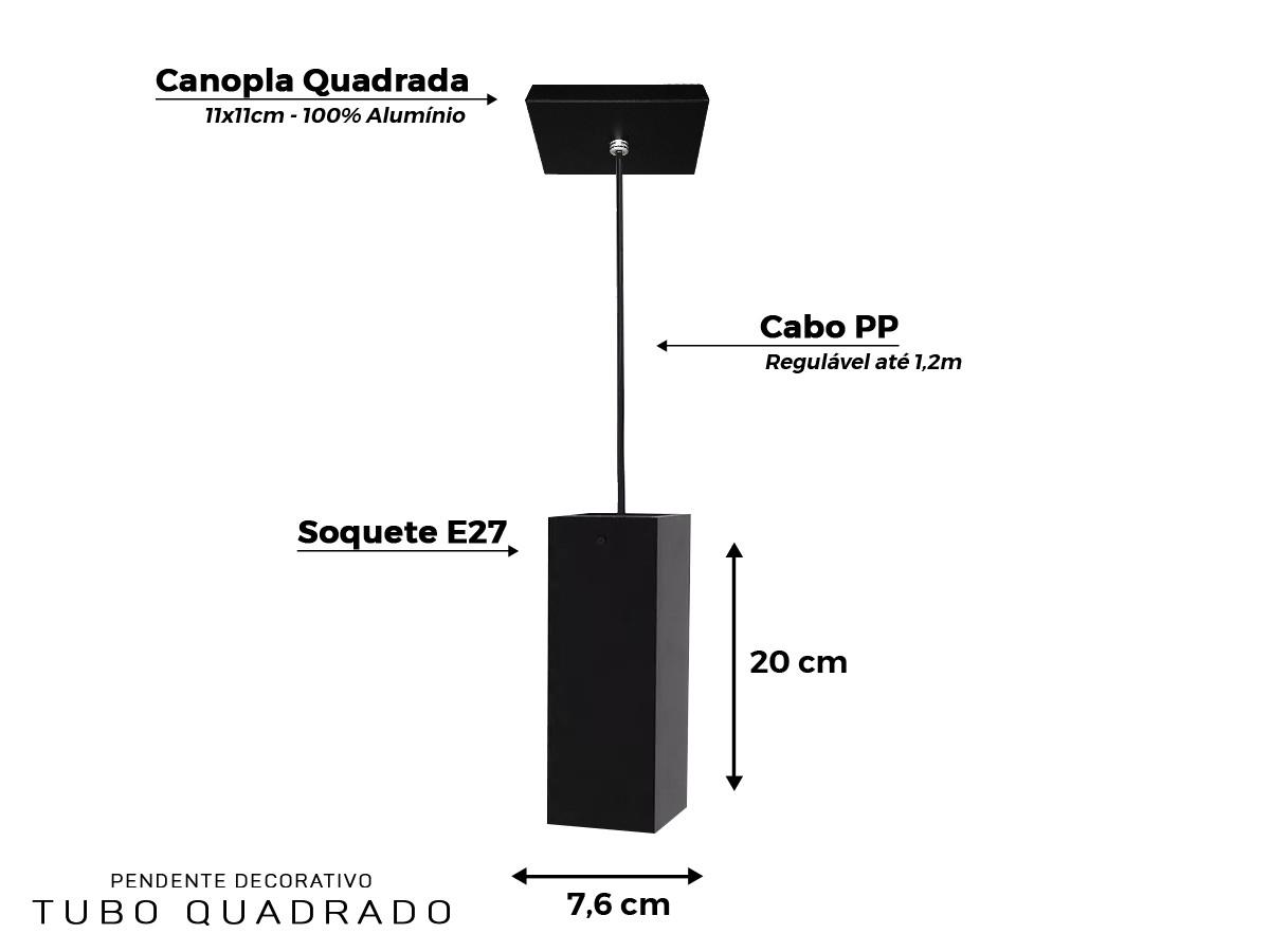Kit 2 Lustre Pendente Tubo Quadrado para Bancada Cozinha Canopla Quadrada