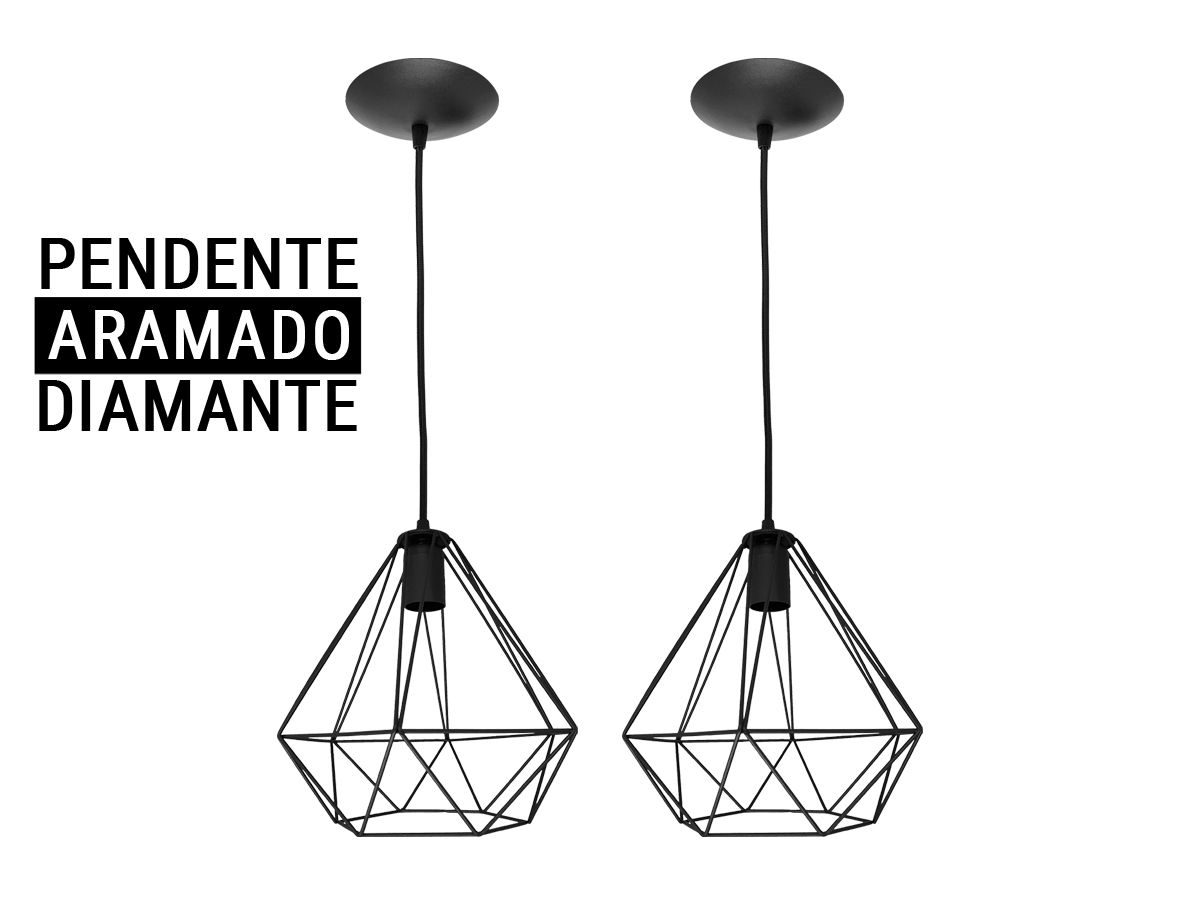 Kit 2 Pendente Aramado Diamante Preto