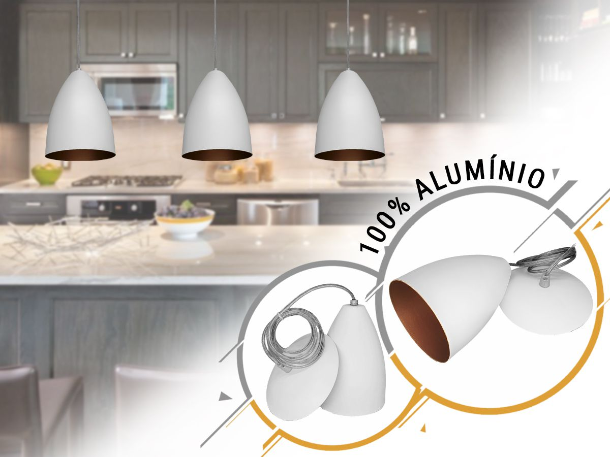 Kit 2 Pendente Bala em Alumínio Branco/Cobre Alta Qualidade