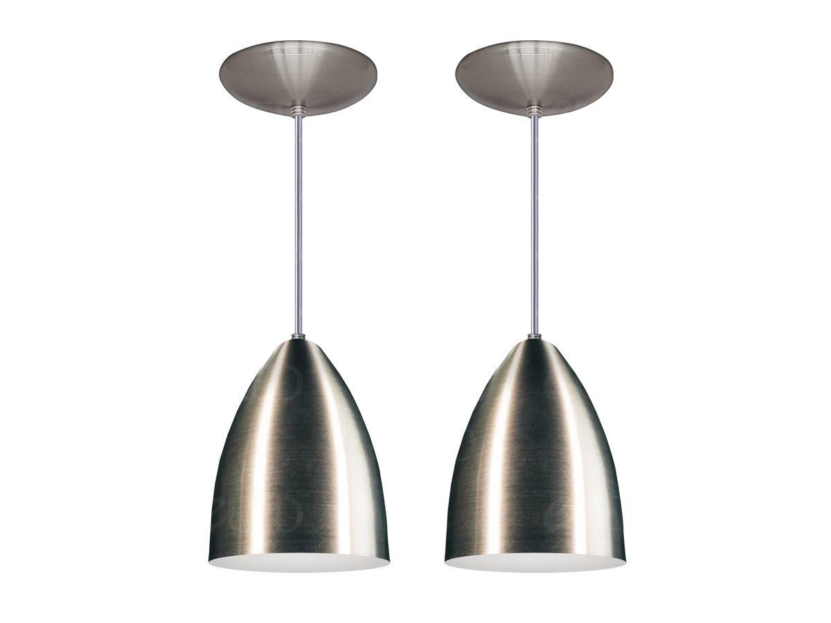 Kit 2 Pendente Cozinha Bala Cone Alumínio Escovado