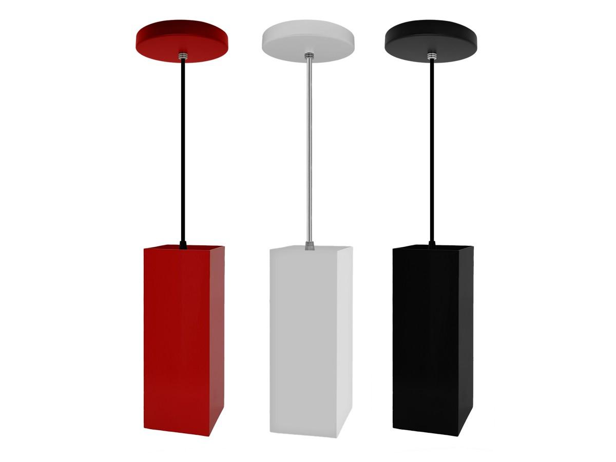 Kit 2 Pendente Cozinha Tubo Quadrado para Balcão Cozinha + LED