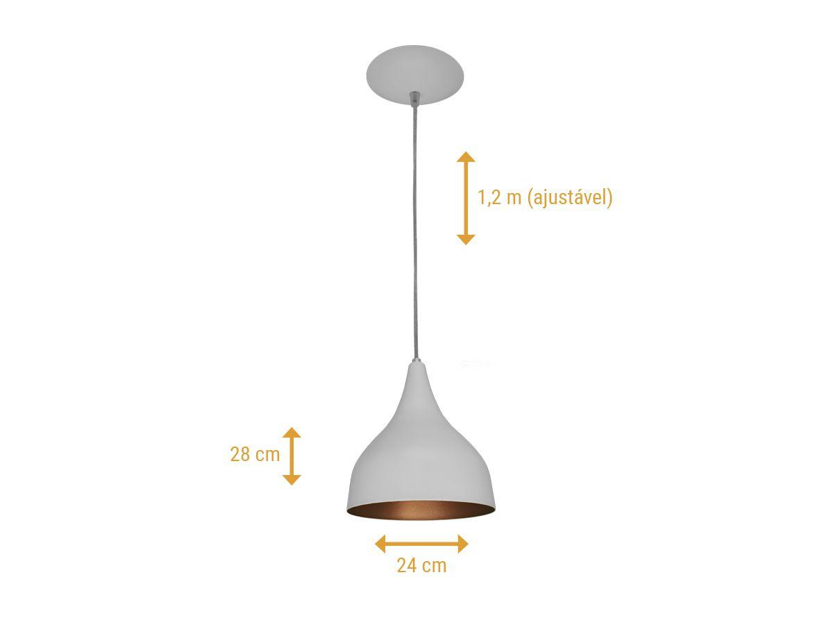 Kit 2 Pendente Funil Médio em Alumínio Branco/Cobre Alta Qualidade