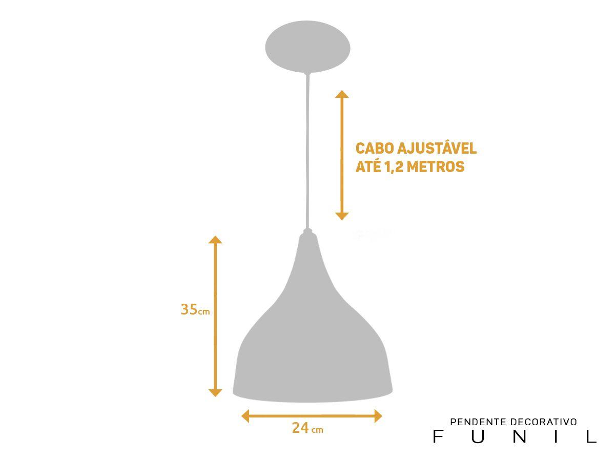 Kit 2 Pendente Funil Grande em 100% Alumínio Branco/Branco Alta Qualidade