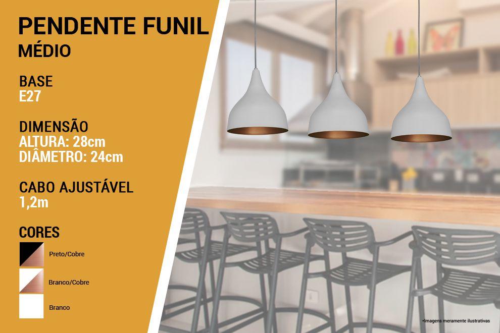 Kit 2 Pendente Funil Grande em 100% Alumínio Branco/Cobre Alta Qualidade