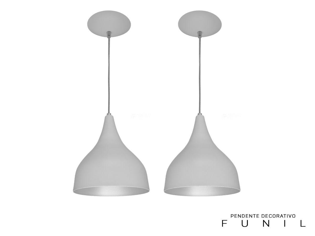 Kit 2 Pendente Funil Médio em Alumínio Branco/Branco Alta Qualidade