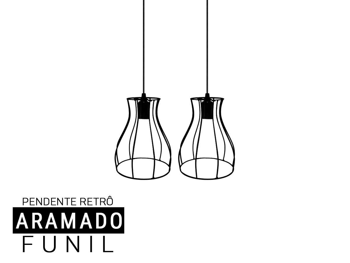 Kit 2 Pendentes Aramado Funil  Retro - Preto