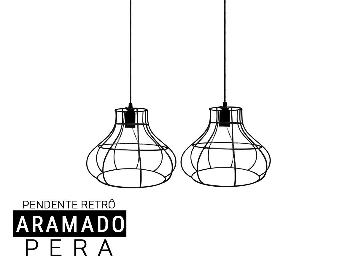 Kit 2 Pendentes Aramado PERA Retro - Preto