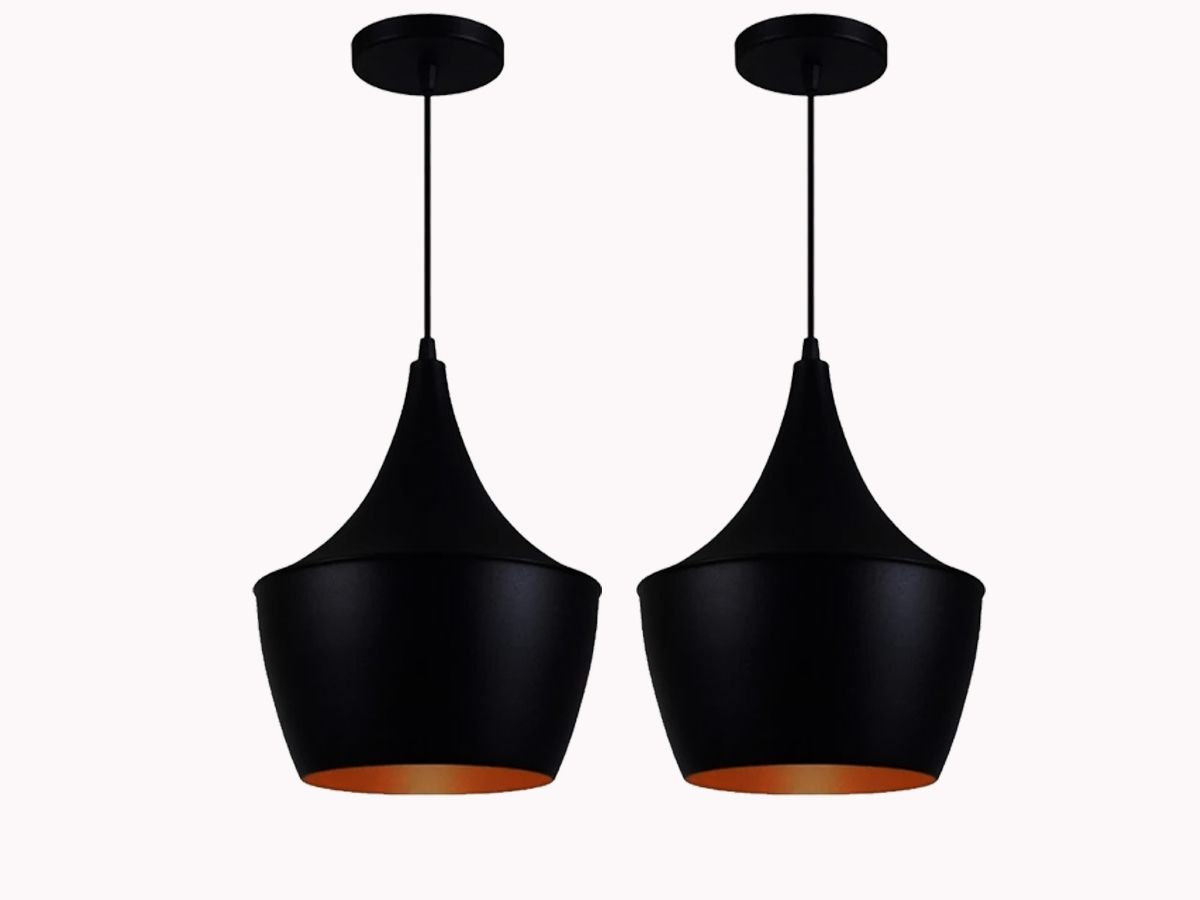 Kit 2 Pendentes Estilo Tom Dixon Modelo Chicago Preto/Cobre