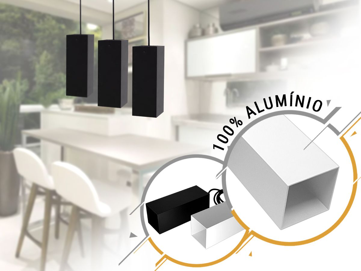 KIT 2 Pendentes Tubo Quadrado para Bancada Cozinha 100% Alumínio Top -Preto