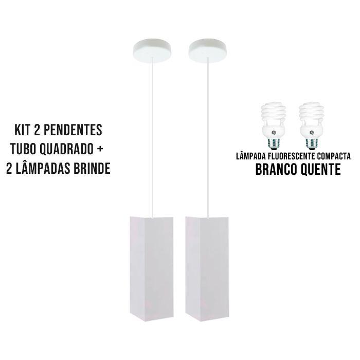 Kit 2 Pendentes Tubo Quadrado  para Bancada Cozinha+ 2 Lâmpadas Brinde