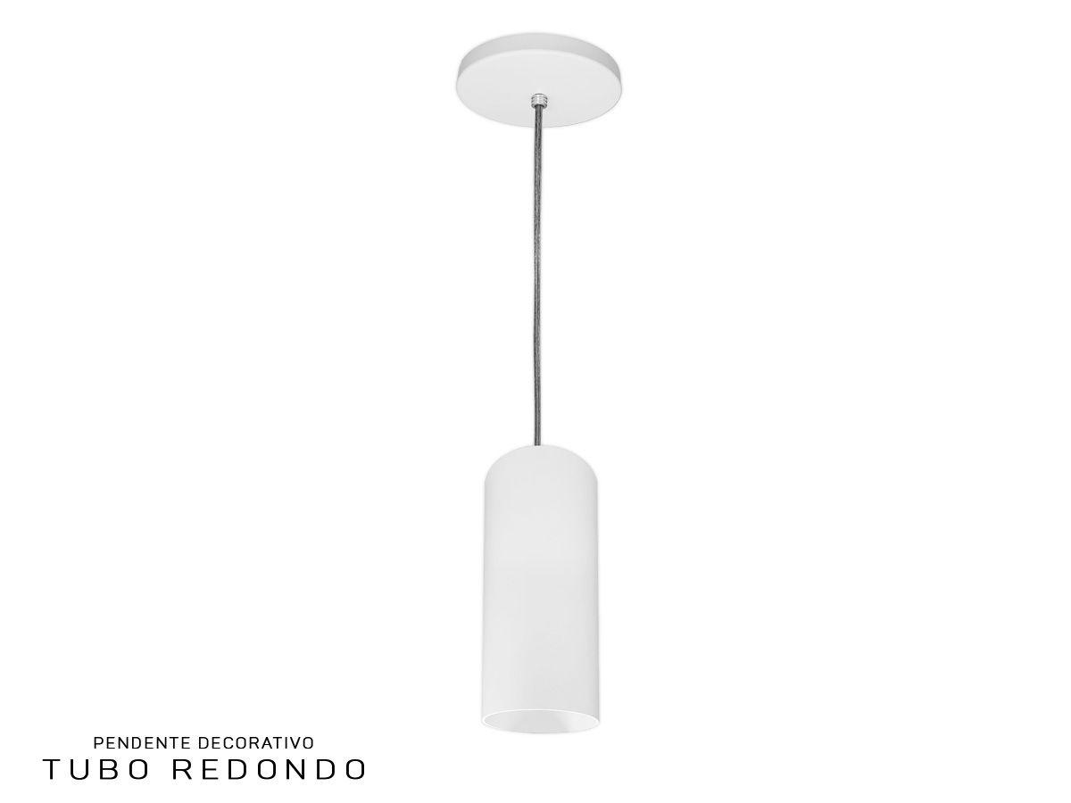 KIT 2 Pendentes Tubo Redondo para Bancada Cozinha 100% Alumínio + LED