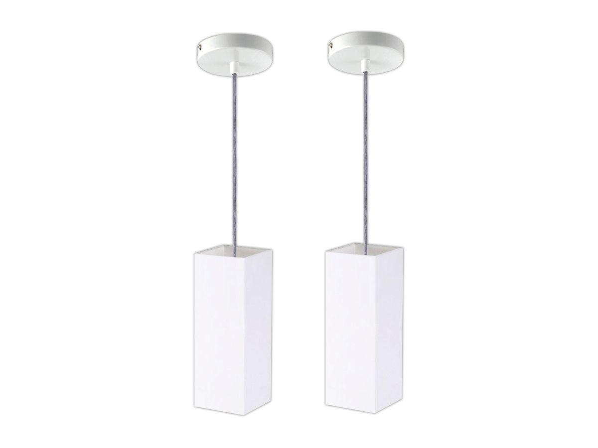 Kit 2x Pendente Cozinha Tubo Quadrado Bancada + 2x Lâmpada