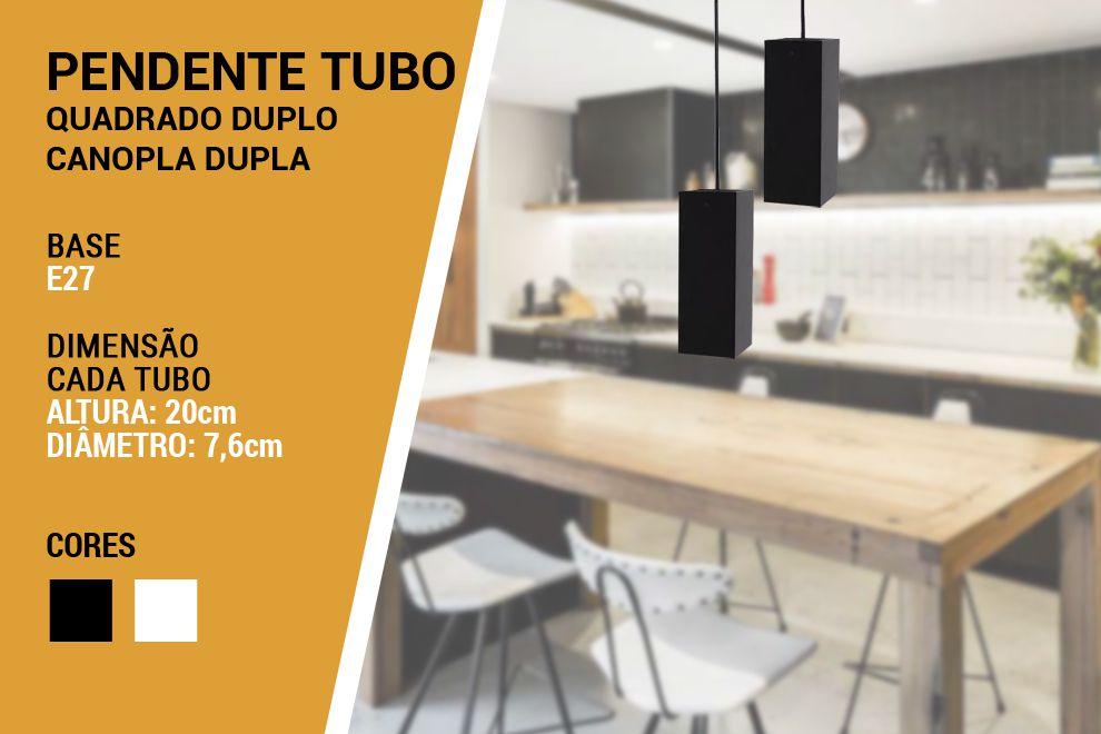 Kit 2x Pendente Cozinha Tubo Quadrado Bancada Canopla Dupla