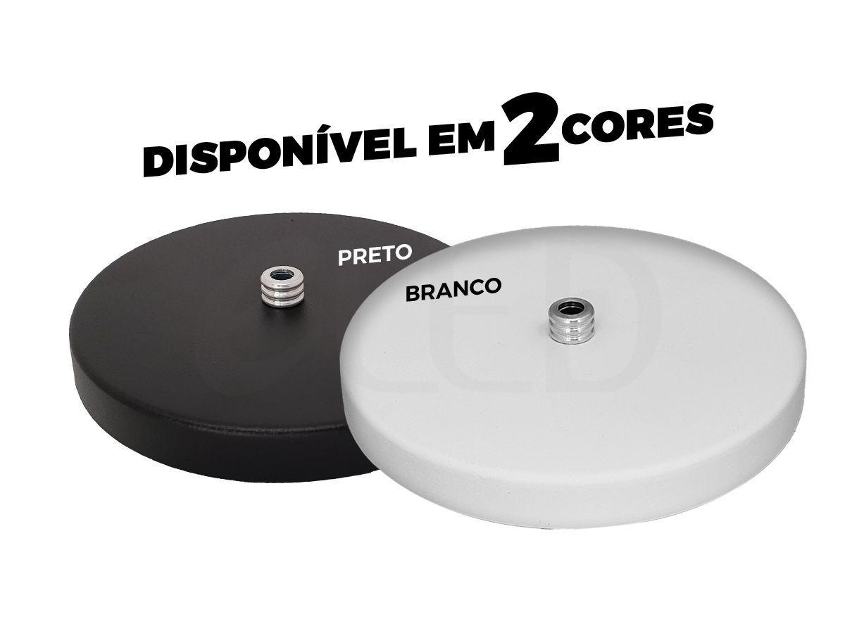Kit 1 Canopla Redondas + Lâmpada Led 9W E27 3000K Luz Branco Quente