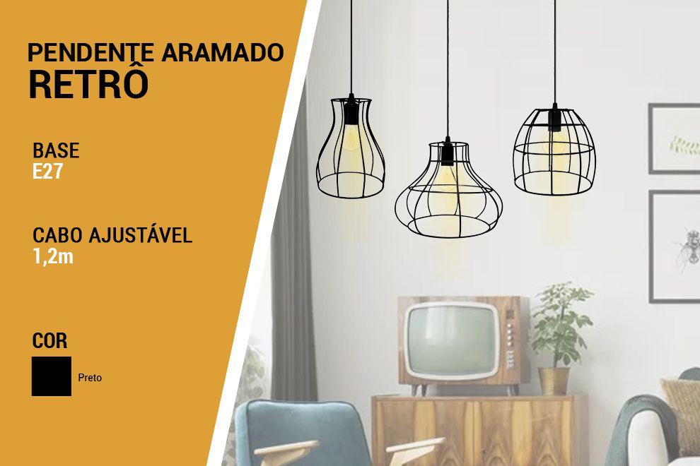Kit 3 Luminária Pendente Aramado Trio Retro - Preto