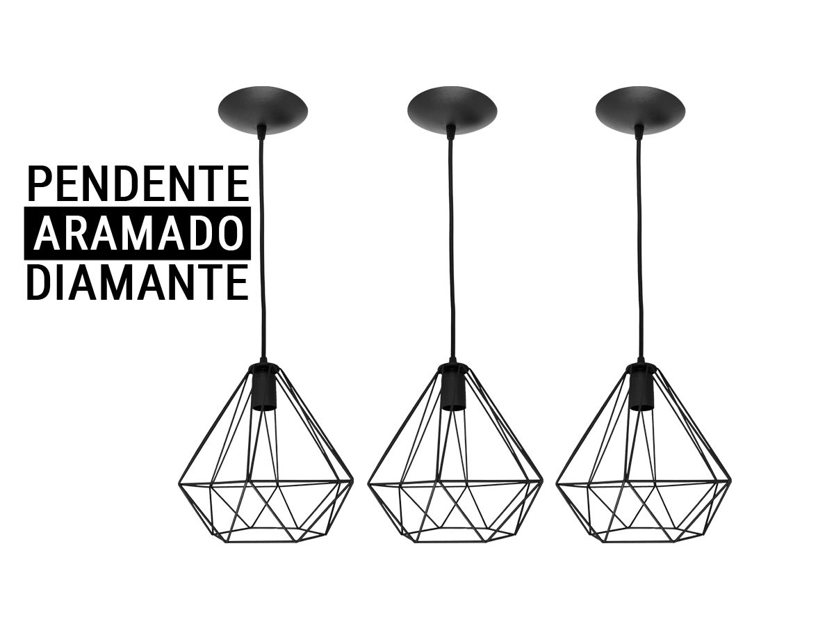 Kit 3 Pendente Aramado Diamante Preto