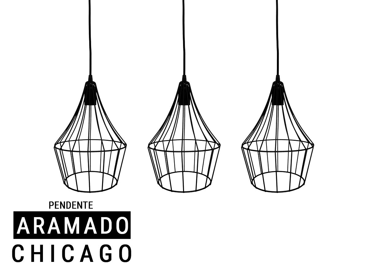 Kit 3 Pendente Aramado Estilo Tom Dixon - Chicago