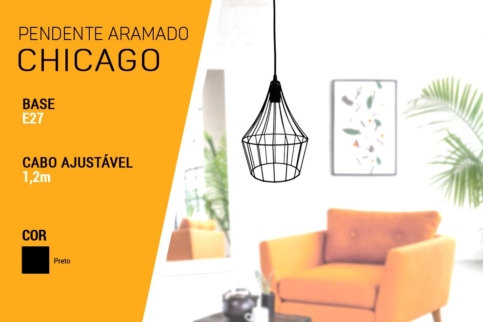Kit 3 Pendente Aramado Chicago
