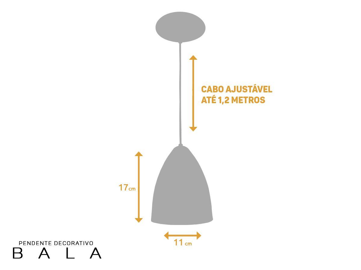 Kit 3 Pendente Bala em Alumínio Branco/Cobre Alta Qualidade