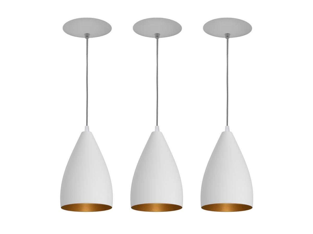 Kit 3 Pendente Cone em Alumínio Preto/Cobre Alta Qualidade